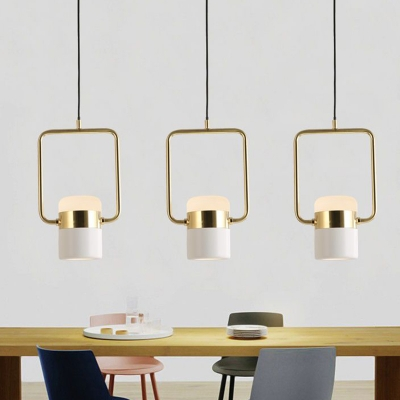 Gold Square Frame Hanging Lamp Modern 1 Head Metal Pendant Light Fixture with White Glass Shade