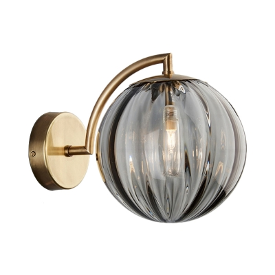 Gray/Amber/Blue Water Glass Ball Wall Lamp Colonial 1-Light Living Room Sconce Light Fixture