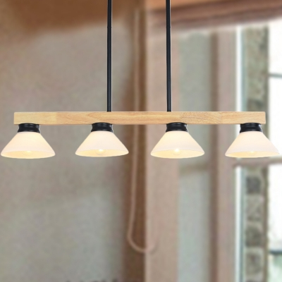 Linear Island Lamp Nordic Wood 4 Lights Black/Gold Hanging Light Kit with Cone White Glass Shade