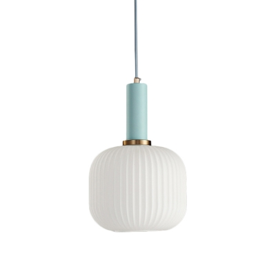 Macaron 1 Head Hanging Light Fixture Black/Pink/Blue Pendant Lamp with Cylinder/Oval/Drum White Glass Shade, 5