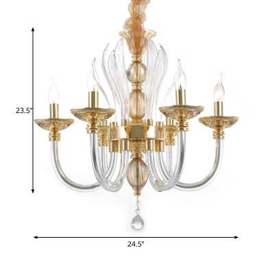 Modern Curved Chandelier Clear Glass 6 Heads Pendant Lamp over Table with Dropped Crystal Ball in Gold
