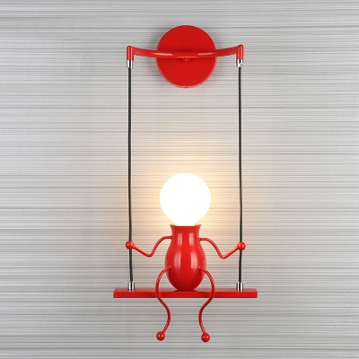 Swing Shape Wall Sconce with Little People Decoration Metal Modern 1 Light Wall Light Fixture in Black/White/Red