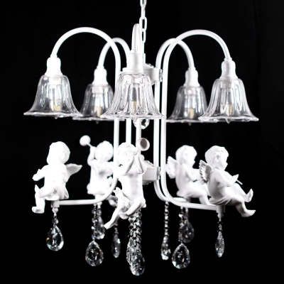 White Flared Chandelier Pendant Plexiglas 5 Lights Traditional Ceiling Light Fixture with Angels and Crystal Drops