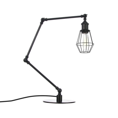 Black/Brass Finish Wire Frame Table Lighting Industrial Style 1 Head Metallic Table Lamp with Adjustable Arm