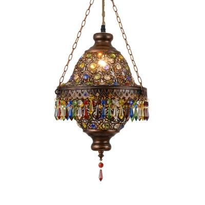 Bohemia Style Lantern Pendant Light Metallic 1 Light Antique Copper Hanging Ceiling Light