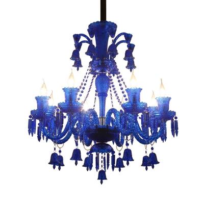 Candelabra Living Room Chandelier Lamp Traditional Crystal 8 Heads Red/Blue/Purple Hanging Light