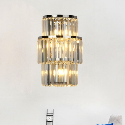 Cylinder Wall Lamp Modern Faceted Clear Crystal Prism 3 Lights Living Room Wall Sconce Light in Silver