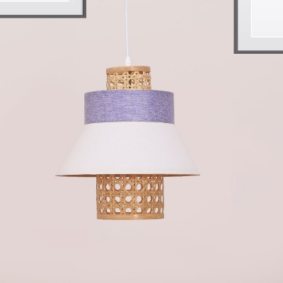 Handmade Cylinder Pendant Lamp with White Fabric Shade Bedroom Hanging Light in Green/Purple/Light Purple