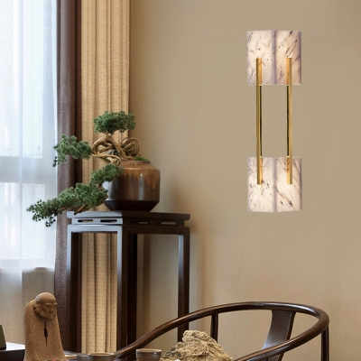 Marble-Like Grey Flush Wall Sconce Double Cuboid 5-Light Modern Stylish Wall Lamp with Metal Gold Bar