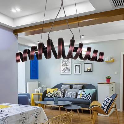Metal Strap Ring Hanging Light Kit Traditional 2 Lights Bedroom Ceiling Chandelier in Copper