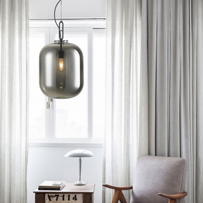 Modern Cylinder Pendant Lighting Amber/Smoke Gray Glass 1 Head Living Room Hanging Lamp Kit