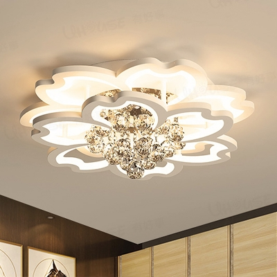 White Flower Flush Light Contemporary Crystal Ball LED Ceiling Fixture in Warm/White/Fourth Gear Light