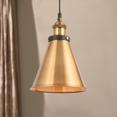 1 Light Restaurant Hanging Light Industrial Style Adjustable Brass Finish Pendant Lamp with Metallic Shade, HL566122