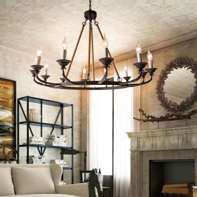 6/8/12 Lights Metal Hanging Chandelier Traditional Rust Wheel Living Room Pendant Light Fixture