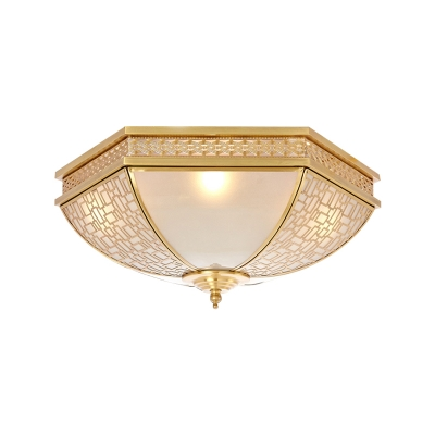 Brass 3 Lights Flush Mount Fixture Colonialism Frosted White Opal Glass Bowl Ceiling Mounted Light for Bedroom