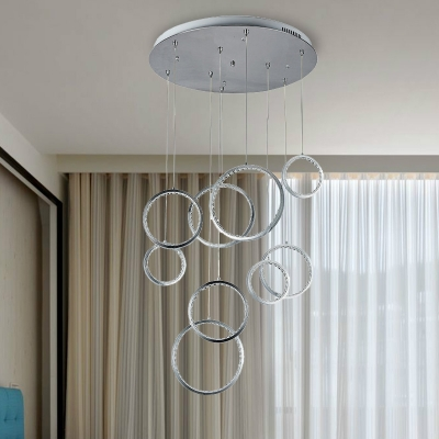 Crystal Circle Cluster Pendant Contemporary 9 Lights Hanging Ceiling Light In Nickel For Corridor White Natural Light Beautifulhalo Com