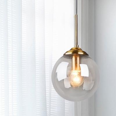 Globe Bedroom Pendant Lighting Amber/Clear/Smoke Gray Glass 1 Head Modernism Hanging Ceiling Light