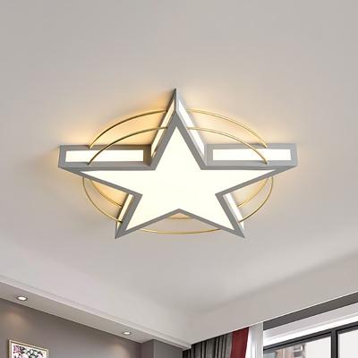 Star/Triangle Flush Mount Lighting Nordic Metal Black/Grey Ceiling Flush Light with Acrylic Diffuser