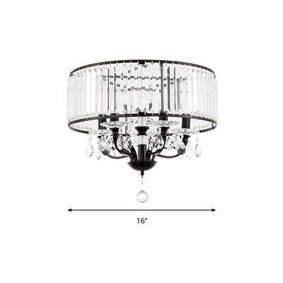 Starburst Flush Light Fixture Modern Crystal Rod 4 Heads Black Ceiling Lamp in Warm/White Light