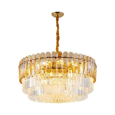 Traditional Tier Crystal Chandelier Light 8-Light Golden Hanging Ceiling Light in Gold