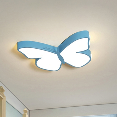White/Pink/Blue Butterfly Flush Mount Lamp Cartoon Acrylic Flush Mount Led Light in Warm/White Light, 19.5