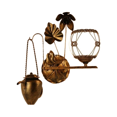 1 Light Dining Room Wall Lighting Idea Country Antique Brass Sconce Light Fixture with Orb Opal White Shade