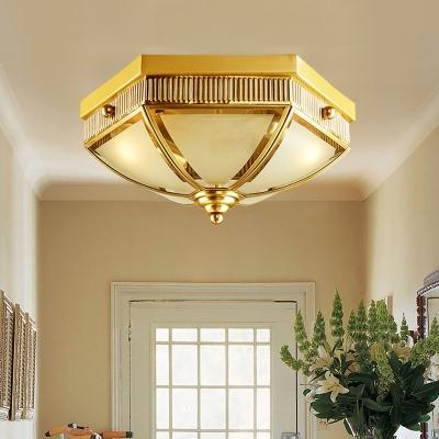 2 Bulbs Scalloped Flush Mount Lamp Colonial Gold Milk Glass Ceiling Lighting for Balcony