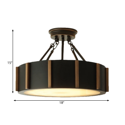 Black Drum Semi Flush Light Traditional Metallic LED Close to Ceiling Light Fixture in Warm Light