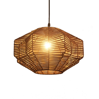 Brown Geometric Hanging Lamp Chinese Style Rattan Woven Pendant Lighting for Living Room