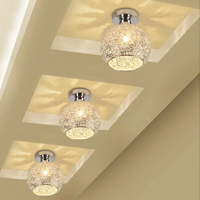 Chrome Globe Semi Flush Mount Light Modern 1 Head Crystal Beaded Ceiling Light Fixture