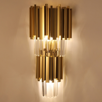 Contemporary Multi Layer Wall Lamp Metal and Crystal Prisms 2/3 Bulbs Wall Mounted Light in Brass