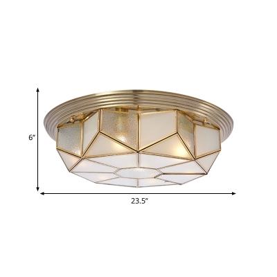 Cream Glass Octagonal Ceiling Lighting Colonial 6 Heads Living Room Flush Mount Fixture in Brass