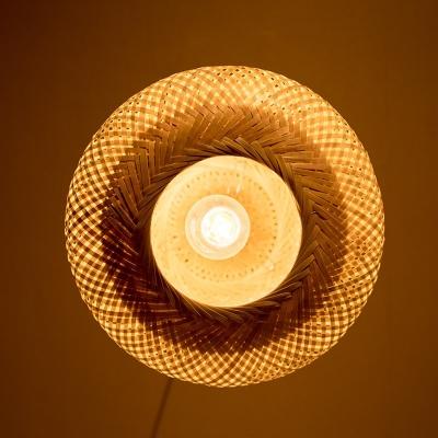 Globe/Oval Hanging Pendant Light Modern 1 Light Handmade Bamboo Hanging Light in Wood