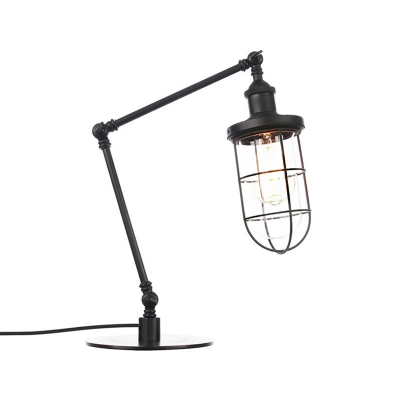 Nautical Style Caged Table Lighting Metallic 1 Head Bedroom Table Lamp in Black/Brass Finish
