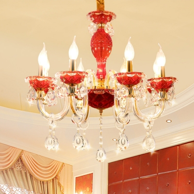 Red Candelabra Chandelier Light Fixture Traditional Crystal Drip 6/8 Heads Restaurant Hanging Lamp