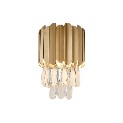 Round Wall Mount Lighting with Clear Crystal Teardrop 2 Bulbs Modern Wall Lamp in Gold/Smoke Grey