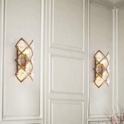 Vintage Wall Sconce Light with Clear Crystal 2 Lights Indoor Wall Mount Light in Rust