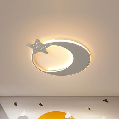 White Moon and Star Flush Mounted Light Modernism Led Ceiling Flush Light in Warm/White Light