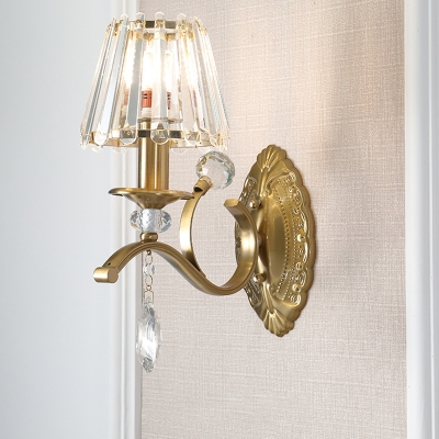 1 2 Heads Cone Wall Sconce Light Traditional Vintage Wall Lighting In Brass For Living Room Beautifulhalo Com