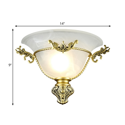 1 Bulb Opal Glass Wall Sconce Colonial Silver/Brass Flared Living Room Wall Mounted Light