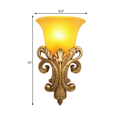 Amber Glass Gold Wall Lighting Bell Single Bulb Colonialism Sconce Light Fixture for Living Room