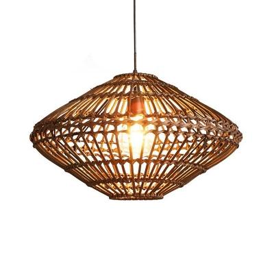 Black/Wood Caged Hanging Pendant Light Height Adjustable 1 Light Asian Ceiling Light