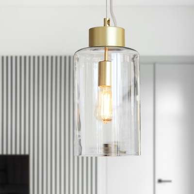 Clear Glass Cylinder Pendant Light Fixture Minimalist 1 Head Brass Hanging Ceiling Light