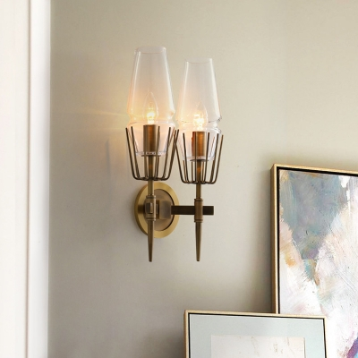 Colonial Tapered Sconce Light 1/2-Bulb Clear Glass Wall Lamp in Brass for Living Room