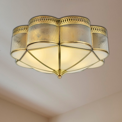 Colonialist Scalloped Ceiling Mounted Light 2 Bulbs Opaline Glass Flush Mount Light Fixture in Brass for Bedroom