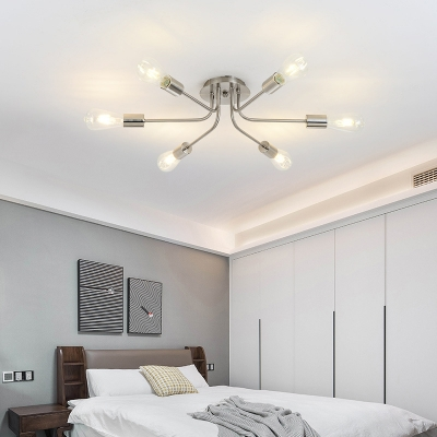 Exposed Bulb Semi Mount Light Industrial Metal 6 Lights Brass/Nickel Ceiling Light Fixture for Bedroom