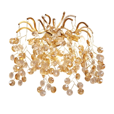 Faceted Crystal Sconce Light Postmodern 3 Heads Gold Wall Mount Light Fixture for Living Room