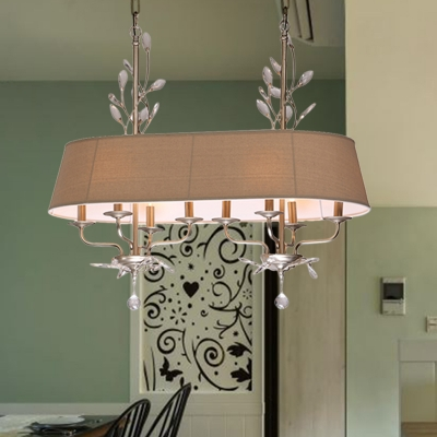 French Style Oblong Ceiling Pendant 8-Light Flaxen Fabric Hanging Lamp over Island with Crystal Element