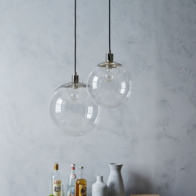 Globe Dining Room Ceiling Pendant Light Clear Glass 1 Head Modernism Hanging Lamp Kit, 8