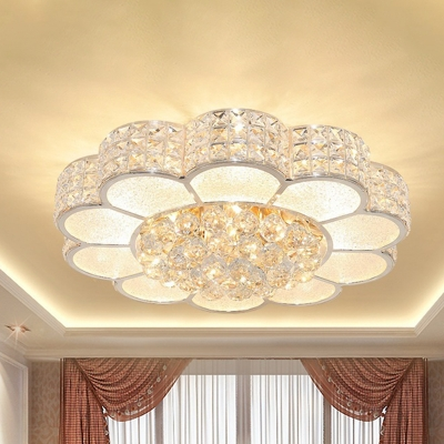 Modern Flower Ceiling Light Clear Crystal Block Bedroom LED Flush Mount Light in 3 Color Light, HL574446